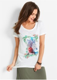 Kurzarm-T-Shirt mit Zipfelsaum, bpc bonprix collection