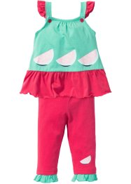 Baby Kleid + Leggings (2-tlg.) Bio-Baumwolle, bpc bonprix collection, mentholblau/hibiskuspink