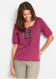 Shirt-Tunika mit halbem Arm, bpc bonprix collection, beerenrot meliert