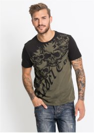 T-Shirt Slim Fit mit Totenkopfdruck, RAINBOW