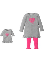 Kleid + Leggings + Puppenkleid (3-tlg.), bpc bonprix collection