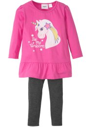 Longshirt mit Volant + Leggings (2-tlg.), bpc bonprix collection