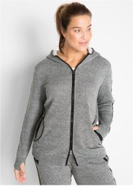Langarm-Sweatjacke mit Details in Leder-Optik, bpc bonprix collection