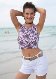 Blusa cropped estampada