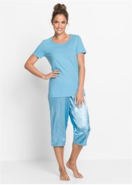 Capri Pyjama mit Satinhose, bpc bonprix collection