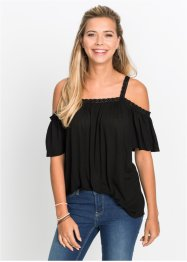 Cold-Shoulder-Shirt mit Spitzenborte, RAINBOW