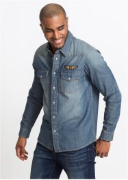 Jeanshemd mit Applikation Slim Fit, John Baner JEANSWEAR