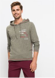 Meliertes Langarmshirt mit Kapuze Regular Fit, bpc bonprix collection