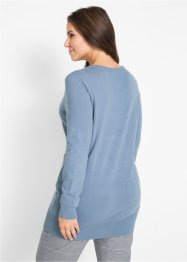 Basic Long-Pullover mit V-Ausschnitt, bpc bonprix collection