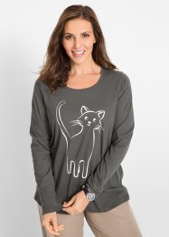 Baumwoll Langarmshirt mit Katzenprint, bpc bonprix collection