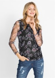 Mesh-Shirt mit Blumendruck, bpc bonprix collection