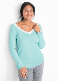 V-Neck Ripp-Shirt mit Spitze, bpc bonprix collection
