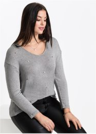 Strickshirt mit Perlenapplikation, BODYFLIRT