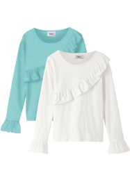 Langarmshirt mit Volants (2er-Pack), bpc bonprix collection