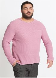 Rundhals-Strickpullover mit gerollten Kanten, bpc bonprix collection