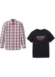 Set: Langarmhemd + T-Shirt mit Spezial-Bauchschnitt, bpc bonprix collection