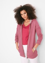 Sweatjacke mit Kapuze, dekorative Lochstickerei, bpc bonprix collection