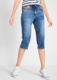 Stretch-Capri-Jeans mit Pailetten-Applikation und Bequembund, bpc bonprix collection