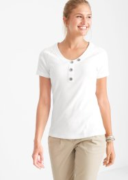 Rippshirt mit Knopfdetail, bpc bonprix collection