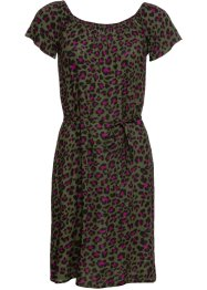 Crincle-Off-Shoulder-Kleid mit Leoprint, RAINBOW