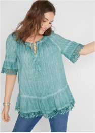 Oil-dyed Carmenbluse mit Spitze, bpc bonprix collection