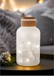 LED-Deko-Glasflasche im winterlichen Design, bpc living bonprix collection