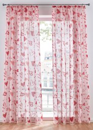 Transparente Gardine mit Herz Druck (1er Pack), bpc living bonprix collection