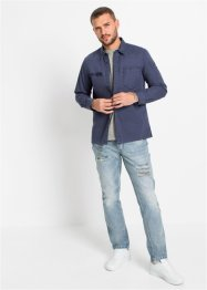 Langarmhemd im Used-Look, Slim Fit, RAINBOW