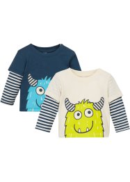 Baby Layershirt (2er-Pack) Bio-Baumwolle, bpc bonprix collection