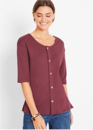 Rippshirt mit Knopfleiste, bpc bonprix collection