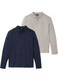 Poloshirts, langarm 2er Pack, bpc bonprix collection