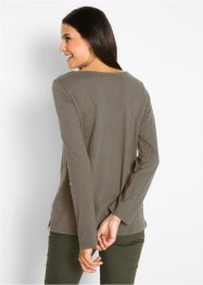 Baumwoll Langarm-Shirt mit Knopfleiste, bpc bonprix collection