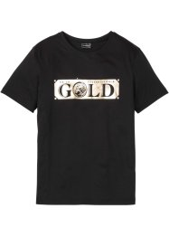 T-Shirt mit Golddruck, Slim Fit, RAINBOW