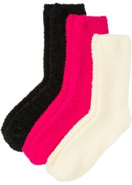 Kuschelsocken Glitzergarn mit Satinschleife (3er Pack), bpc bonprix collection