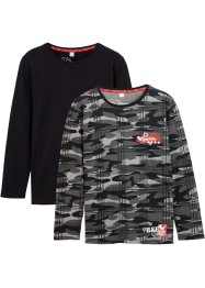 Jungen Langarmshirt (2er-Pack) Bio-Baumwolle, bpc bonprix collection