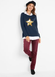 2 in 1 Pullover mit Bluseneinsatz, Langarm, bpc bonprix collection