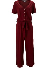 Jersey-Jumpsuit mit V-Ausschnitt, kurzarm, bpc bonprix collection