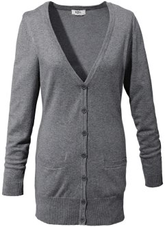 Basic Feinstrick-Jacke, bpc bonprix collection, grau meliert