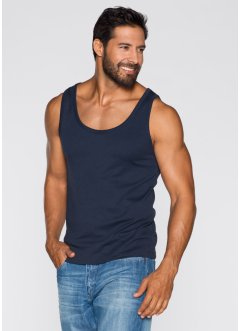 Tanktop (2er-Pack) Slim Fit, bpc bonprix collection, dunkelblau+weiss