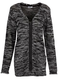 Langarm-Strickjacke, bpc bonprix collection, schwarz/wollweiß meliert
