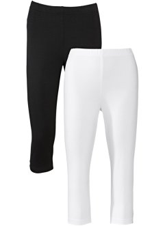 Stretch-Caprileggings, bpc bonprix collection, weiß+schwarz