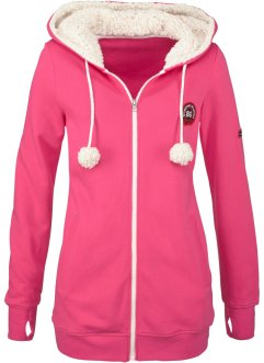 Kapuzen-Sweatjacke mit Kuschelfleece, bpc bonprix collection, dunkelpink