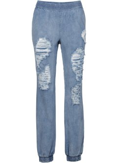 Baggy Destroy Jeans, RAINBOW, blue bleached washed