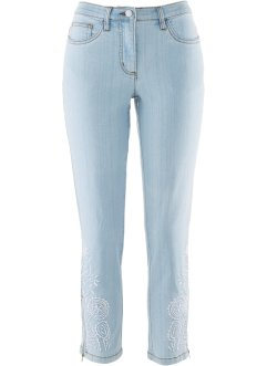 7/8-Stretch-Jeans mit Stickerei, bpc selection, blue bleached