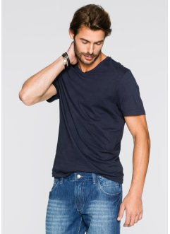 V-T-Shirt (3er-Pack) Regular Fit, bpc bonprix collection, mittelblau+weiß+dunkelblau