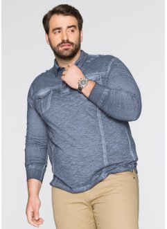 Langarmpoloshirt Regular Fit, bpc bonprix collection, dunkelblau