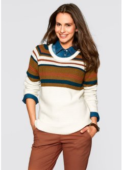 Pullover, bpc bonprix collection, dunkellila gemustert