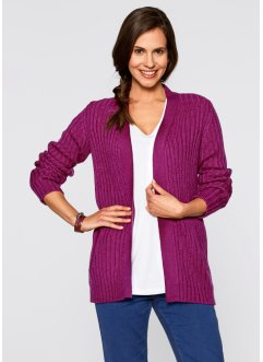 Strickjacke in offener Form, bpc bonprix collection, violettorchidee