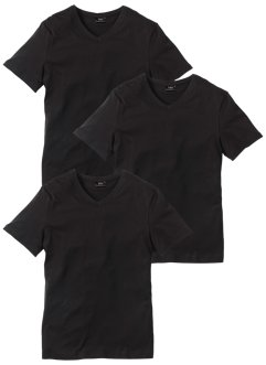 V-T-Shirt (3er-Pack) Regular Fit, bpc bonprix collection, schwarz+schwarz+schwarz