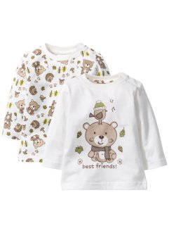 Baby Langarmshirt (2er-Pack) Bio-Baumwolle, bpc bonprix collection, wollweiß